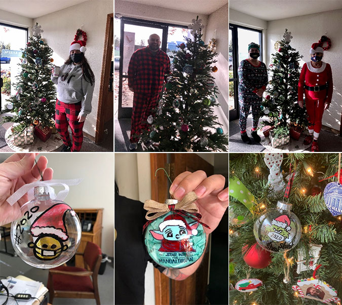 Pickering employees hanging Christmas decorations